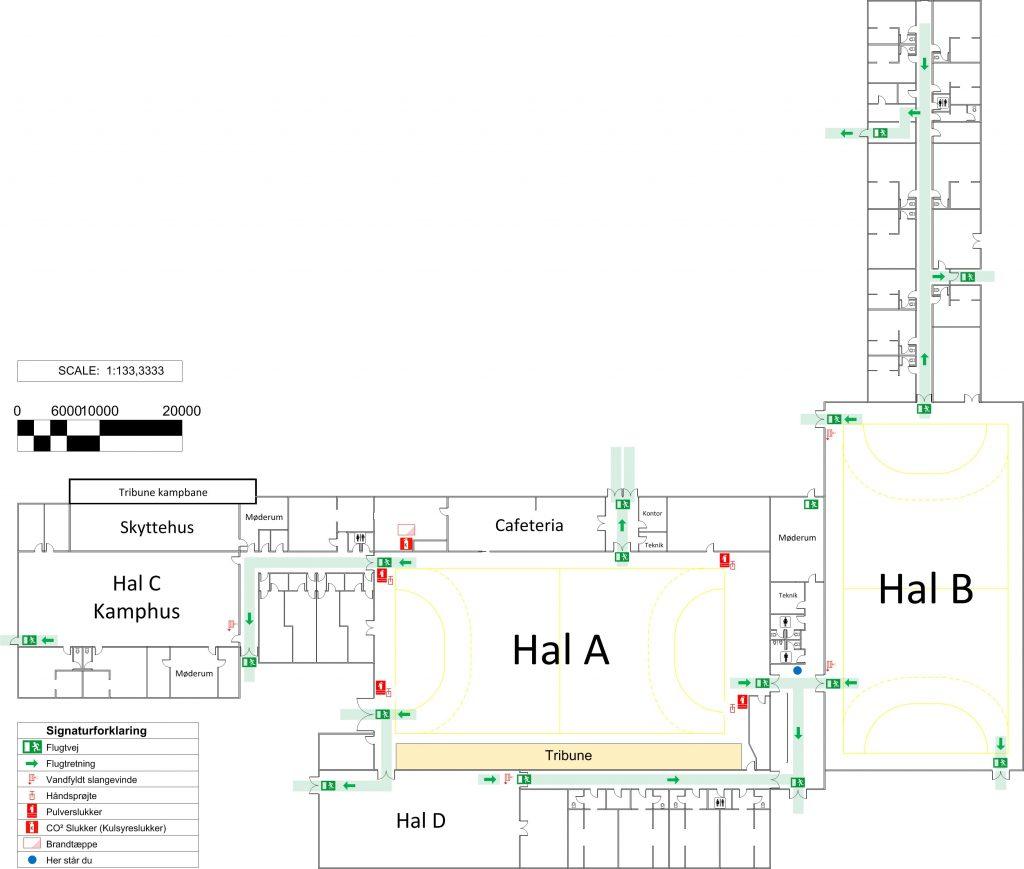 Plantegning af Hadsund Hallerne